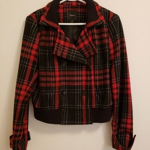 Express red & black plaid jacket
